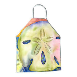 Caroline's Treasures - Sand Dollar Apron - Apron, Bib Style, 27 in H x 31 in W; 100 percent  Ultra Spun Poly, White, braided nylon tie straps, sewn cloth neckband. These bib style aprons are not just for cooking - they are also great for cleaning, gardening, art projects, and other activities, too!