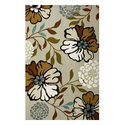 nuLOOM - Transitional Outdoor 8' x 10' Ivory Hand Hooked Area Rug Floral Indoor Outdoor - Made from the finest materials in the world and with the uttermost care, our rugs are a great addition to your home.
