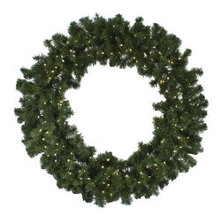 """Seasonal Source - 48"""" Pre-Lit Oregon Fir LED Wreath, 150 Warm White LED Lights - Our 48"""" diameter commercial quality holiday wreath is full and luxurious.  Each wreath is pre-decorated with 150 LED lights."""