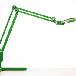 Pablo - Link Task Lamp, Green - Reminiscent of a 1930's studio work lamp, this extension arm task lamp rotates 360°, illuminates radiantly and stretches to meet any task you happen to have at hand.