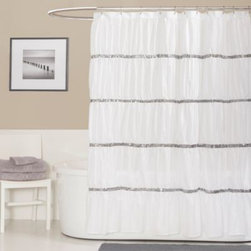 Triangle Home Fashions - Twinkle 72-Inch x 72-Inch Shower Curtain in White - Add a dazzling touch to your bathroom decor with the Twinkle white shower curtain. Sequins arranged in horizontal rows accent the rippling ruched microfiber fabric.
