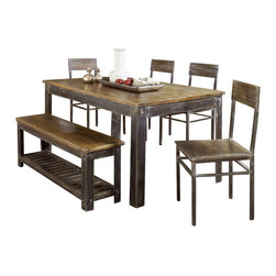 Modus Furniture - Modus Farmhouse 6-Piece Dining Room Set with Oxidized Finish - Simplicity, function and fine craftsmanship are the hallmarks of classic farmhouse style. With our Farmhouse dining collection we not only honor, but build on these qualities.