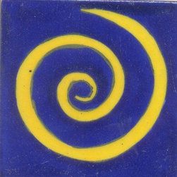 """Knobco - Tiles 3x3"""", Yellow Swirl with Blue - Yellow Swirl with Blue Base Tiles from Jaipur, India. Unique, hand painted tiles for your kitchen or other tiling project. Tile is 3x3"""" in size."""
