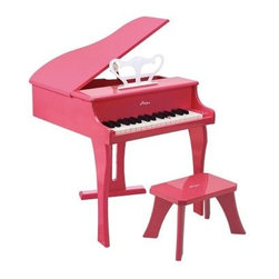 Hape 30 Key Pink Happy Grand Piano - The masters never had the advantage of the Hape 30 Key Pink Happy Grand Piano. This finely crafted children's piano is made from maple Baltic birch plywood and plastic. The sum of its materials amount to a difference you can hear and that's encouraging news for budding musicians. The graphics are screen-printed and it's finished in child-safe pink paint. It includes a stool for extended performances. About HaPe InternationalDrawing on decades of child development expertise HaPe (pronounced hah-pay) International is sensitive to children's needs whenever they develop and design a new toy. Their toys support children throughout every stage of development. This support starts at a very young age to help nurture and develop their natural abilities. HaPe International's first priority is to encourage children in their individual development through building their self-esteem. With their high-quality toys and games they support children as they play learn interact and grow. HaPe understands that children's social emotional intellectual and physical health is a key issue not only for parents but also for a healthy society. That's why they take this responsibility very seriously and conduct a wide range of toy safety tests. The result is safe exciting stimulating toys.