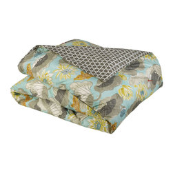 """Mystic Valley - Mystic Valley Traders Shangri-la - Twin Duvet Cover - The Shangri-la duvet cover is fashioned from the Lagoon fabric, reversing to the Oasis fabric, and finished with a clean edge; it is fully reversible.  As with all Mystic duvet covers, it has a hidden zipper and interior ties in each corner to hold the duvet fast; twin 65""""x89""""."""