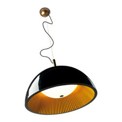 Leds Grok - Umbrella Suspension - Umbrella pendant features a Black outer shade with a Gold pleated interior shade or a White outer shade with a Silver pleated interior shade. Three 5.6 watt, 120 volt medium base LED bulb are included. Dimensions: 23.62 inch width x 59.05 inch height.