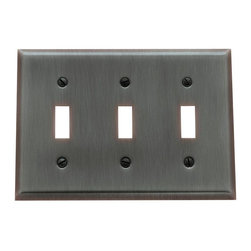 Baldwin Hardware - Beveled Edge 3 Toggle Wall Plate in Venetian Bronze (4770.112.CD) - Feel the difference as Baldwin hardware is solid throughout, with a 60 year legacy of superior style and quality. Baldwin is the choice for an elegant and secure presence. As remarkably expressive as they are functional, these brass wall plates by Baldwin