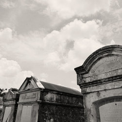 The Andy Moine Company LLC - Old Tombs Lafayette Cemetery #1  New Orleans, LA Black and White Photography , 2 - Black and White Fine Art Photography captured with 35MM Ilford Film and reproduced in limited editions on Canvas OR Brushed Aluminum. This is a beautiful composition of the Old Tombs lining Lafayette Cemetery #1 in New Orleans, Louisiana. Traditionally Burials in the city are Above ground in tombs due to the city being below sea level, you can't dig 6 feet down without hitting water. In the early days of the settlement caskets originally buried underground were known to 'float' to the surface after flooding or storm surge from a hurricane.