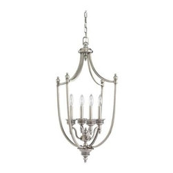 Sea Gull Lighting - Hall Fixture - This Open Frame Foyer Hall Fixture has a Nickel Finish and is part of the Laurel Leaf Collection.