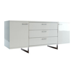 Modloft - Greenwich Buffet, White Lacquer - Greenwich two-door, three-drawer dining buffet. Finished in luxurious wenge or walnut veneer with the direction of the grain articulating the different sections, this striking buffet appears to be suspended from the stainless steel legs which run from top to floor. Each inside cabinet measures 14.75W x 16D x 18.5H, equipped with a fixed center shelf. Available in wenge or walnut wood finishes. Arrives assembled. Imported.
