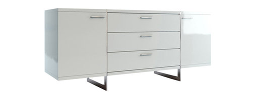"""Modloft - Greenwich Buffet, White Lacquer - Greenwich two-door, three-drawer dining buffet. Finished in luxurious wenge or walnut veneer with the direction of the grain articulating the different sections, this striking buffet appears to be suspended from the stainless steel legs which run from top to floor. Each inside cabinet measures 14.75""""W x 16""""D x 18.5""""H, equipped with a fixed center shelf. Available in wenge or walnut wood finishes. Arrives assembled. Imported."""
