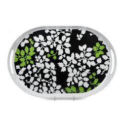"Q Squared NYC - 21"" x 14"" Oval Tray w/ Handles Victorian - Black/White & Green Leaves - Dappled leaves weave a lacy veil across this charming melamine tray. Lightweight, durable and heat resistant, it's ideal for entertaining indoors or out. When you're done, just pop it in the dishwasher."