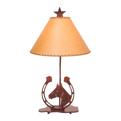 """Steel Partners Inc - Table Lamp 26"""" - HORSESHOE - Every piece we create is unique — handcrafted at our factory in Chehalis, Washington, USA. Due to this, lead times are 2 to 4 weeks."""