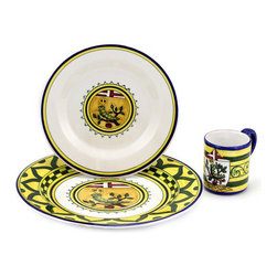 Artistica - Hand Made in Italy - PALIO DI SIENA: BRUCO (Caterpillar) Place setting pre-pack: Charger+Dinner+Mug - The ''Palio di Siena'' is a tournament as a replica of a medieval horse race which is ran twice year, during the summer season, in the city of Siena, located in the beautiful Tuscany region.