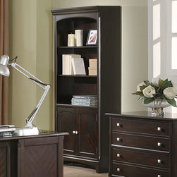 Coaster - Walnut Transitional Bookcase - The Garson home office group features storage drawers and file cabinets to keep you organized and productive. Finished in a rich cappuccino and brushed nickle drawer pulls. Drawers feature smooth drawer glides, hutch comes with task light and wire management.