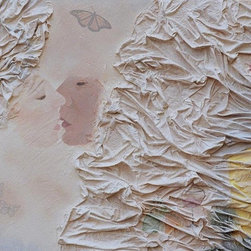 """""""The Dream"""" Artwork - The many layers of this dreamy piece will intrigue and surprise you. Smooth lovers lips touch gently as they each emerge from crinkled bedsheets as a couple of soft butterflies seem to fly behind a wispy white veil in the background. The artist's use of mixed media creates contrast and texture rarely seen in a painting."""