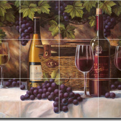 "Artwork On Tile - Ceramic Tile Mural Backsplash Chiu Wine Grapes Art 21.25"" x 17"" - EC-TC009 - * 21.25"" w x 17"" h x .25"" Ceramic Tile Mural on Architectural Grade, 4.25"" Tile w/Satin Finish"