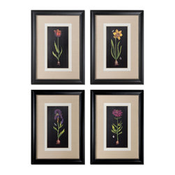 Uttermost - Uttermost Springtime Flowers 32x23 Rectangular Wall Art (Set of 4) - Prints are Accented by White, Off-white and Sand Faux Linen Mats. Frames are Black Satin Accented with Silver Inner Lips with a Heavy Gray Glaze.