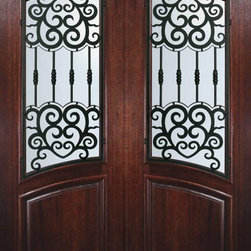 Slab Entry Double Door 96 Mahogany Barcelona Arch Lite