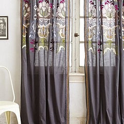 """Anthropologie - Safia Embroidered Curtain - Sold individuallyTunnel tab constructionCottonDry clean50""""WImported"""