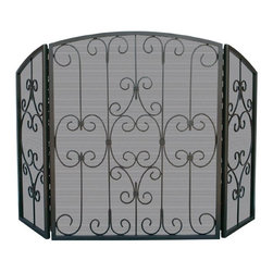 Uniflame - Three-panel Graphite Mesh Fire Screen w Ornat - Magnificent fire screen carries ornate scrollwork alternately in front of & behind mesh screen.  Fire screen blends Spanish & Tuscan inspired designs with modern lines.  Every aspect of this show-stopping graphite fire screen competes for your attention.  From elaborate scrollwork to modern arc top, fire screen leaves a lasting impression.  Central panel features scrollwork behind mesh screen, creating a textured effect. * Stylish Screen is Functional and Attractive. Maintains Fireplace Safety. Allows For Ease and Comfort with Fireplace Maintenance. 49 in. W x 31 in. H
