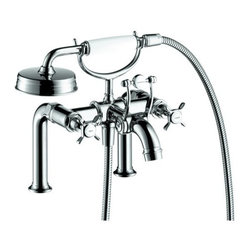 """Hansgrohe - Axor Roman Tub Filler Deck Mounted w/ Cross Handles/ Hand Shower Less Valve - Axor Montreux Roman Tub Filler Faucet Deck Mounted with Diverter, Metal Cross Handles and Single Function Hand Shower Less ValveRim mounted tub filler Traditional cross handles Solid brass 90 degree ceramic cartridge Diverter for 1/2"""" Hand shower outlet 1/2"""" male NPT inlet Spout reach 9 3/8"""""""