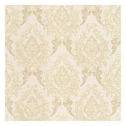 Regal Beige Damask Wallpaper Bolt - A timeless damask luxury wallpaper in soft satin beige.
