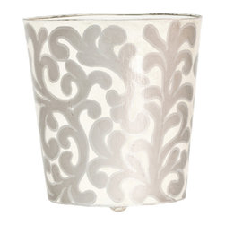 Worlds Away Oval Wastebasket, Silver and Cream - Oval Wastebasket, silver and cream