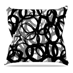 """KESS InHouse - Emine Ortega """"Rhythm"""" Black Gray Throw Pillow, Outdoor, 20""""x20"""" - Decorate your backyard, patio or even take it on a picnic with the Kess Inhouse outdoor throw pillow! Complete your backyard by adding unique artwork, patterns, illustrations and colors! Be the envy of your neighbors and friends with this long lasting outdoor artistic and innovative pillow. These pillows are printed on both sides for added pizzazz!"""