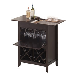 Baxton Studio - Baxton Studio Tuscany Brown Modern Dry Bar and Wine Cabinet - This handsome little wine cabinet makes impromptu guests or celebrations a breeze! The Tuscany Modern Dry Bar houses a small collection of wines, up to 10 wine glasses, and more. The cabinet door shelters wine glasses from the risk of accidental breakage. Use the top to display decor or bottles of spirits and then slide the two panels apart to reveal an open compartment for storage of any other necessities. The cabinet is made from MDF with rubber wood veneer and finished with a dark brown stain and silver hardware. To clean, wipe with a dry cloth. Made in Malaysia; assembly is required.
