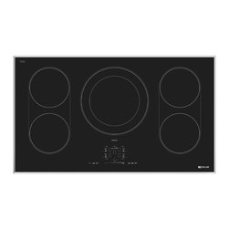 "Jenn-Air® 36"" Induction Cooktop - This sleek induction cooktop combines the precision of a gas cooktop with the design of an electric cooktop. Five powerful elements heat cookware directly, for exceptional speed and responsiveness, while the cooking surface stays cool to the touch. The intuitive Sensor Boil function selects the optimum level to quickly bring water to a boil, then adjusts the power level to minimize the possibility of boiling over."
