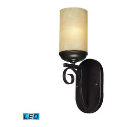 Elk Lighting - Elk Lighting Avondale Wall Sconce with Aged Bronze X-DEL-1/01511 - The Burbank Collection Features The Timelessness Of Hand-Wrought ScrolLED Iron Motifs That Exude Classic Charm.   The Aged Bronze Finished Metalwork Is Complimented By The Warm Glow Of Amber Scavo Glass That Resemble Candles.    - LED Offering Up To 800 Lumens (60 Watt Equivalent) With Full Range Dimming. Includes An Easily Replaceable LED Bulb (120V).