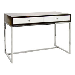 """Worlds Away - Worlds Away William Rosewood & White Desk - Worlds Away touches the home with marvelous of-the-moment treasures inspired by vintage finishes, patterns and styles. The William desk stands with sleek and sophisticated style. Atop clean-lined stainless steel legs, the rectangular table boasts rich rosewood veneer for an organic complement. Two white lacquer drawers deliver the office or study contemporary storage. Desk features glass knob hardware. Drawers run on glides. 48"""" W x 42"""" D x 32"""" H."""