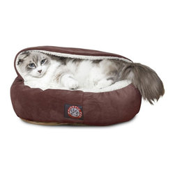 """MAJESTIC PET PRODUCTS - Microvelvet 18"""" Canopy Bed, Chocolate - You can learn a lot from cats. They've taken the act of lounging and turned it into an art form. Just look at how nestled this kitty is in this welcoming bed, inspiring all of us to not just get comfortable during a nap, but downright cozy."""