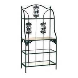 Vineyard Bakers Rack with 1 Wood Shelf - This gorgeous rack is decorated with graceful twining grapevines and leaves. Features a main shelf space made of wood and two lower shelves of tempered glass plus one more glass shelf overhead. The frame is made of strong tube steel and is available in your choice of several designer finishes (see the Options tab below). An ideal rack for any room of your home. The top shelf is 9 inches deep and the others measure 18 inches deep. You can choose from 4 different kinds of wood and 4 different metal finishes. Most Popular Rack: Satin Black with Honey Wheat Wood