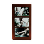 """Lawrence Frames - Walnut Wood 6x4 Multi Triple Horizontal Picture Frame - Espresso wood 4"""" x 6"""" triple. Comes with quality easel backing for vertical or horizontal tabletop display, and hanger for vertical or horizontal wall mounting."""