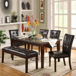 Homelegance - Homelegance Decatur 6-Piece Dining Table Set - Rich Cherry Multicolor - 2456-64[ - Shop for Dining Tables from Hayneedle.com! Transitional style and comfort combine in this Homelegance Decatur 6-Piece Dining Table Set - Rich Cherry. It includes a stunning dining table with a fixed marble table top four side chairs and a roomy bench. Each piece is crafted from quality rubberwood and showcases a rich cherry finish. The chairs and bench are upholstered in smooth dark brown vinyl.Dimensions:Table: 64L x 38W x 30H in.Side chairs: 19W x 21.5D x 39H in.Bench: 49W x 18D x 20H in.About Homelegance Inc.Homelegance takes pride in offering only the highest quality home furnishings that incorporate innovative design at the best value. From dining sets to mirrors sofas and accessories Homelegance strives to provide customers with a wide breadth and depth of selection as well as the most complete and satisfying service available for their category. Homelegance distribution centers are conveniently located throughout the United States and Canada.
