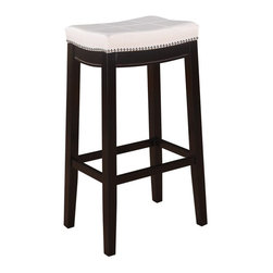 "Linon - Linon Claridge Patches White Bar Seat Height in Dark Brown - Linon - Bar Stools - 55816WHTPU01KDU - The Claridge Patches White Bar Stool will add stylish seating to any bar or high top table. The sturdy wood frame has  a dark brown finish accented by a white vinyl upholstered seat. Nailheads trim and accent stitching adds a patchwork design to the top for an eyecatching detail. 30"" Seat Height"