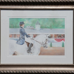 """Dressage At Devon"" (Original) By Gail Dolphin - This Is An Original Pastel And Pencil Drawing Of A Dressage Rider At The Dressage At Devon National Horse Show. The Background Shows The Famous And Historic Devon Announcer Stand."