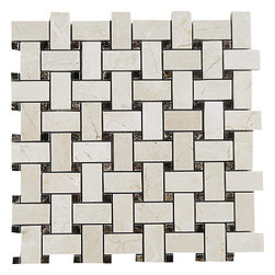 marblesystems - Crema Marfil & Emperador Dark Polished Marble Mosaics - Natural mosaic tile that can be used on floors and walls.