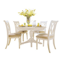 American Drew - American Drew Camden-Light 6-Piece Round Dining Room Set in White Painted - The Camden-Light collection melds simple forms with quiet traditional references, gentle curves and a beautiful time worn ivory finish that lets the character of the wood show through. The brushed nickel finish hardware adds even more character to the Camden collection. This line will work great in your renovated farm house or a smaller beach cottage get-away.