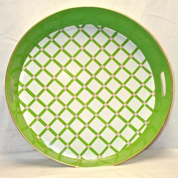 "17"" Round Serving Tray ""Vineyard Trellis"" - This colorful tray is truly prep-tastic. It will look pefect with mojitos, pink lemonade or a cold martini."