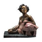 Bronzes by Janet - STELLA   bronze sculpture - A 21st century portrayal of Tennesse Wiliams' character in A Streetcar Named Desire, this seated bronze female is a fusion of art and literature.