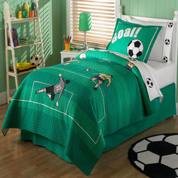 RR - Soccer Quilt with Pillow Sham - Soccer Quilt with Pillow Sham