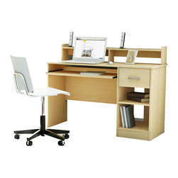 South Shore - South Shore Axess Contemporary Style Computer Desk in Natural Maple - South Shore - Computer Desks - 7113076 - Need to tidy up your home office? This Axess collection desk is perfect for all your storage needs! Its compact design includes all the space you need for a well-organized workspace thanks to its open and closed storage spaces. In addition, the work surface is great for laying out homework or setting down a laptop. With its neutral and trendy finish, this desk will match any decor perfectly.