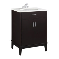 """Simpli Home - Urban Loft Espresso 24"""" Bath Vanity with White Quartz Marble Top - The Simpli Home 24 inch Urban Loft Vanity Collection is defined by its dark espresso brown finish,  multi finish chrome pulls & hardware and clean lines and contemporary look.    This beautiful assembled vanity provides large storage area with internal shelf behind its 2 doors."""