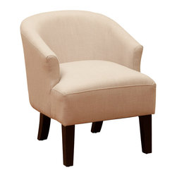 Great Deal Furniture - Luciana Linen Accent Chair, Beige Putty - The Luciana Beige Accent Chair is a great piece for any room in your home. The rounded chair back design offers a modern touch of elegance while still retaining all of the comfort benefits of the classic chair. With a unique mod look this chair will make a statement as bold as the design.