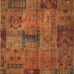 Kas - Distressed Antiques tone Views Jewel Cypress Transitional 8' x 11' Kas Rug  by R - Discover an updated form of antique living with our Cypress Collection. Hand-knotted in India of 100% distressed wool in a worn-stitch weave, these rugs bring trendy colors together with traditional design elements to create old-world style that