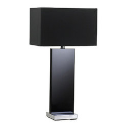 Cyan Design - Vista Table Lamp - Crystal Lamp with Black Finish with Black Satin Shade with White Lining Dimensions: H. 26.75in D. 9.5in W. 14in 1-Light 100W M Bulb