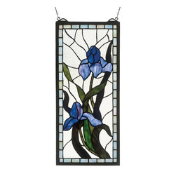 Meyda Tiffany - 9 in. Iris Window Panel - Includes mounting bracket and jack chain. Tiffany floral nouveau style. Made from 124 piece of stained glass. Handcrafted utilizing the copperfoil construction process. 9 in. W x 20 in. H (34 lbs.). Care InstructionsMeyda tiffany's original iris design celebrates the beauty of the flower named for juno's messenger who was turned into a rainbow. Purple iris flowers and spring green leaves adorn a clear frost background banded in sky blue.